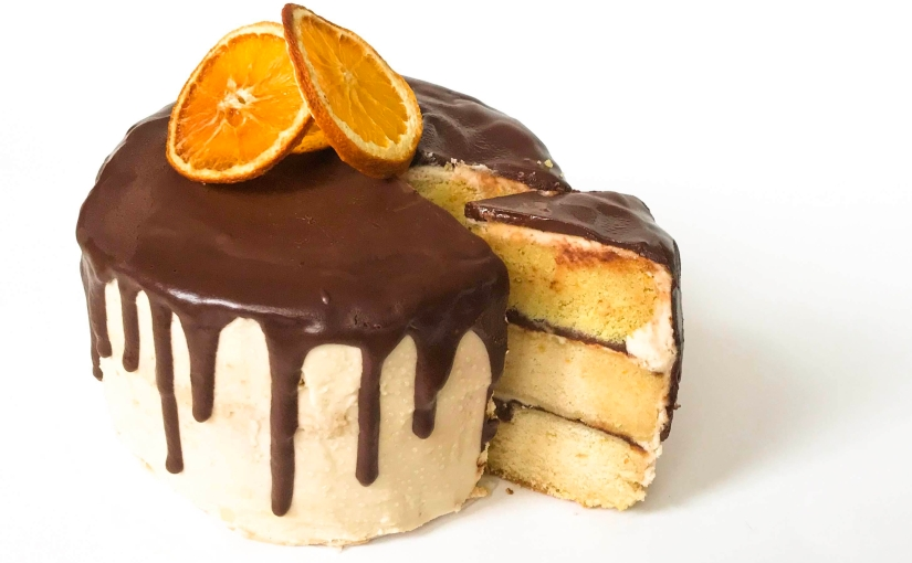 "Orange ""Creamsicle"" Cake with Chocolate Ganache (V)"
